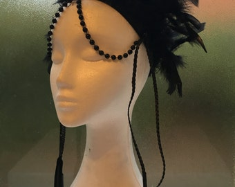 CLEARANCE: Black Tribal Feathered Headpiece