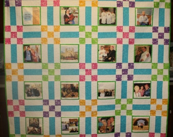 Homemade handmade quilt, photo memory quilt, comfort quilt, colorful quilt, lap quilt, twin quilt