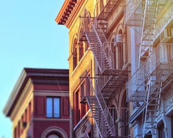 New York photography, NYC print, Soho architecture, NYC fire escapes, sunset in New York, fine art photography, large wall art, home decor