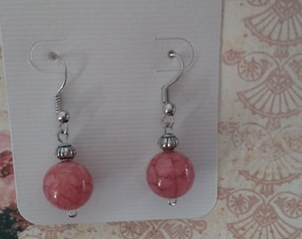 Hand crafted pink bead earrings