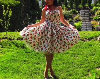 Pinup dress 'Vintage strawberries', 2 COLORS, PLUS SIZE available, rockabilly dress