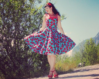 Pinup dress 'Night Berries' Strawberry dress on blue base, rockabilly dress