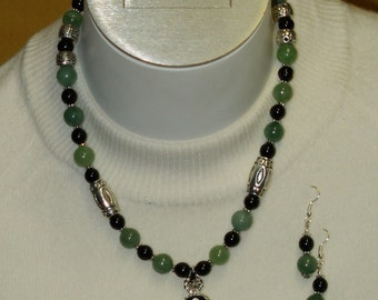 Green Aventutine and Onyx Necklace with Pendant
