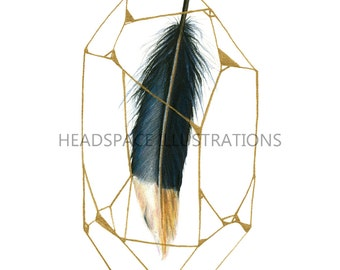 Gold Dipped Black Feather in Geometric Crystal Quartz Diamond Colored Pencil Art Print by Headspace Illustrations