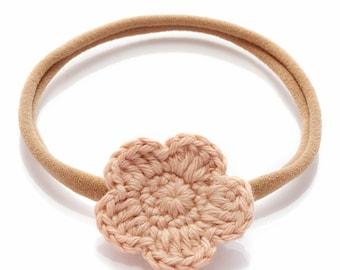 Knitted  Flower Headband for Newborn Baby Girls l organic cotton headband