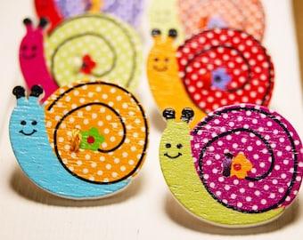 Adorable wooden snail button thumb tacks / push pins - 1 set of 6