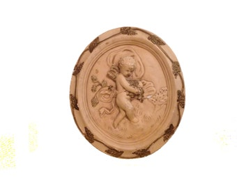 Antique Plaster Cherub Wall Decor With Gold Leaf Accents Victorian Era Wall Hanger Installed 1900's Home Decor