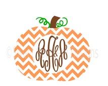 Chevron pumpkin monogram SVG instant download design for cricut or silhouette