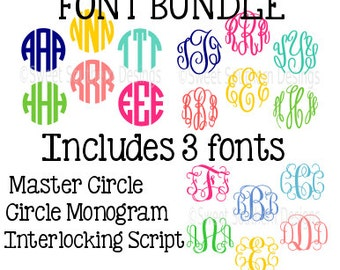 Font bundle Master Circle Circle Monogram Font Interlocking Script Cursive font SVG DXF EPS instant download design for cricut or silhouette