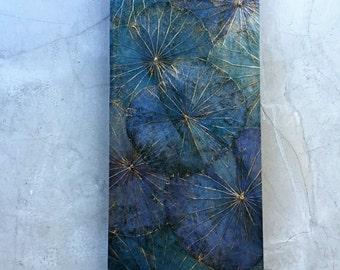 Lotus Leaf image, turquoise 40 x 80 x 4 cm