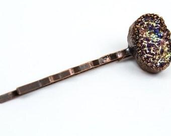 Druzy Hair Pin, Raw Gemstone Hair, Crystal Bobby Pin, Raw Stone Hair Pins, Raw Gem Bobby Pin, Wedding Hair Pin, Rainbow Hair Pin, Druzy Hair