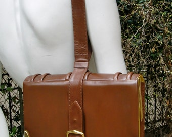 PALOMA PICASSO Book Shape Brown Leather Handbag