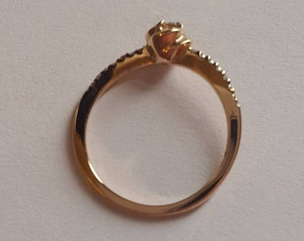 14k Rose Gold natural diamond ring size N / N 1/2