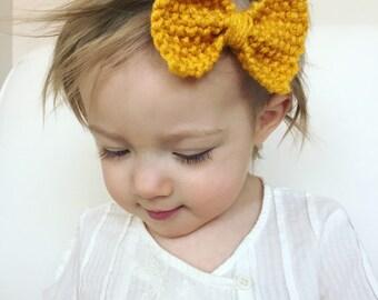 Large Mustard Bow Headband
