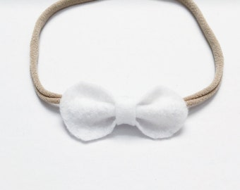 Baby Girl, Toddler, White Petite Felt Bow