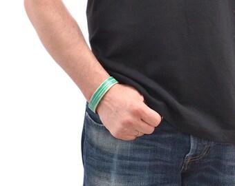 Green Leather Bracelet For Men / Leather Band Bracelet, Leather Wristband / Leather Wrap Bracelet, Mens Bracelet, Leather Cuff Bracelet