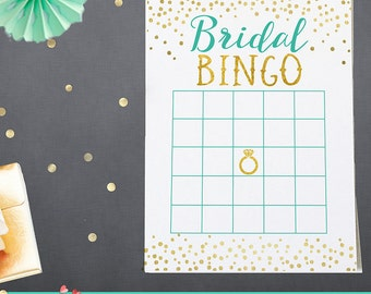 Bridal Bingo Game Printable - Mint and Gold Bridal Shower Game Printable - Bridal Bingo Game - Mint and Gold  - Instant Download - BS11