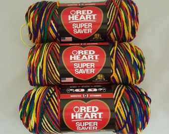 Red Heart Super Saver Yarn MEXICANA Lot of 3 Skeins 5 oz Medium 4