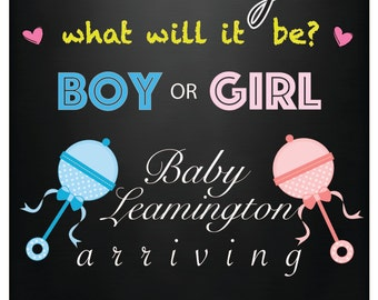 Boy or Girl? Baby Announcment Poster Print