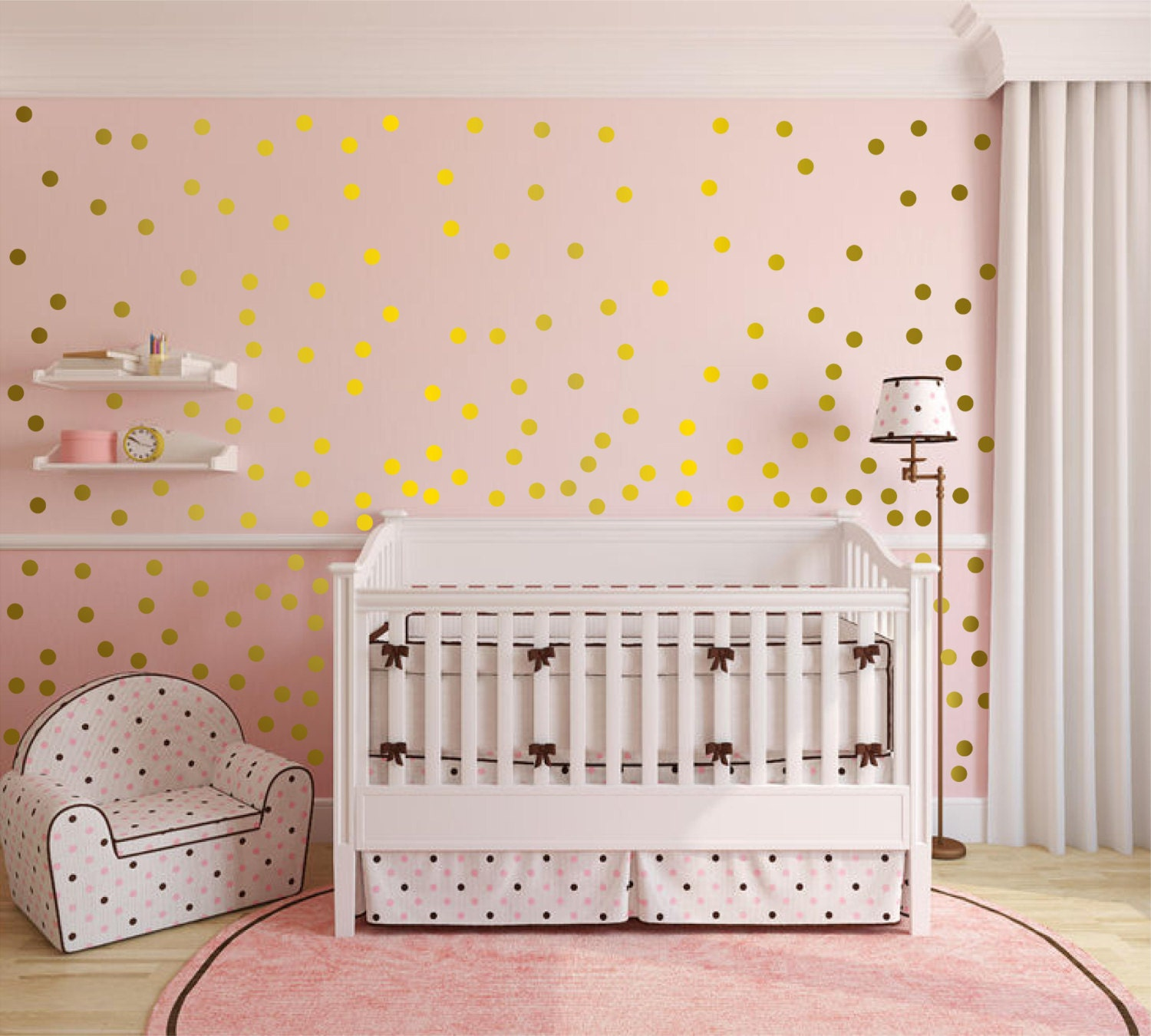 Metallic gold wall decals polka dots wall decor 1 inch for How to make polka dots on wall