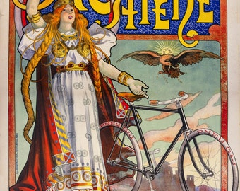 Bicycle Advertising Acatene Paris, French 1896 HD Art Print or Canvas, Vintage Antique Retro Giclee Artwork Cyclist Bicycle Racing Bike