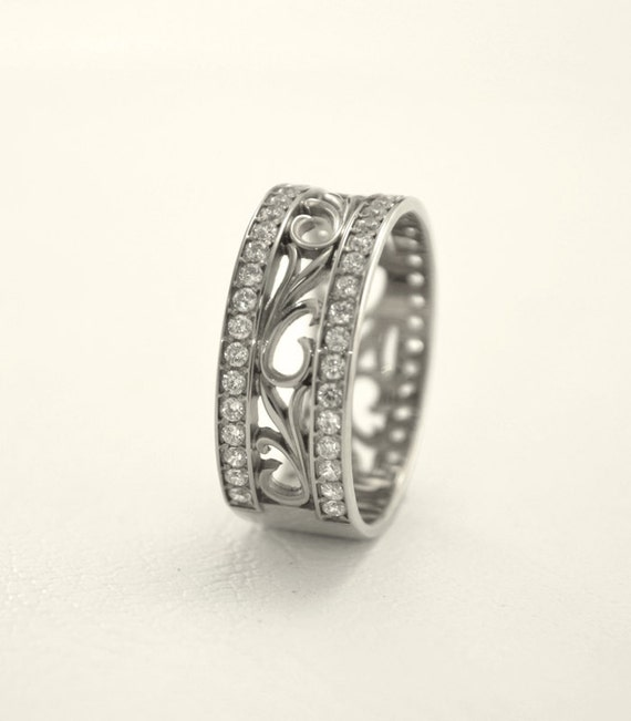 vintage style promise ring nature silver band by