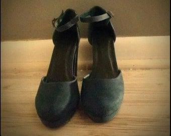Teal Ankle Strap Heels