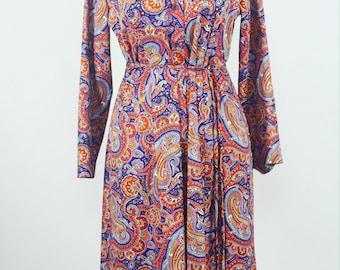 1970's Paisley Print Shirtdress by FlutterBye/Size Small