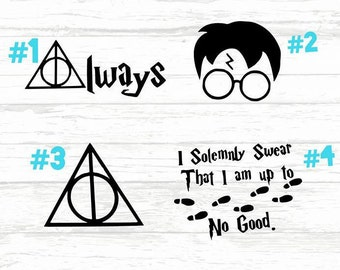 deathly hallows, Harry Potter decal, HP vinyl decal, Always, mischief managed decal, harry potter sticker, Muggle, swear I am up to no good