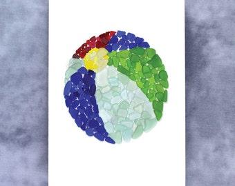 Sea Glass Beach Ball Note Card - Blank