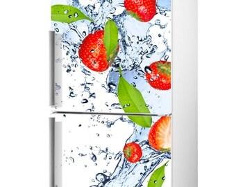 Fridge decal, Fridge decal Strawberry, Refrigerator Decal, Fridge Decals, Fridge Vinyl Decal, Vinyl Decal, Self-Adhesive Refrigerator Decal