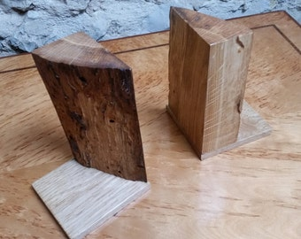 Natural wood bookends - small