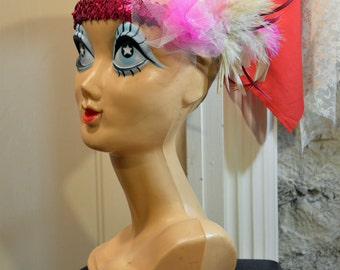 1920s Flapper Pink Feather Sequin Custom Fascinator Headband Headpiece