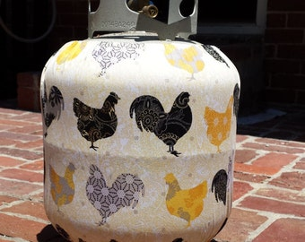 Rooster and Hen Propane Tank Cover