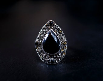 Vintage Silver, Obsidian and Marcasite Ring
