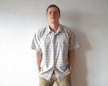 Plaid Mens Shirt Light Summer Shirt Boyfriend Button up Shirt Short Sleeve Shirt Checked Shirt Cotton Redneck Shirt Mens Work Wear XL Large