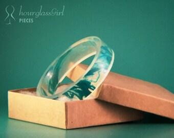 Abstract Teal Acrylic Resin Bangle Bracelet