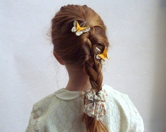 Cotton Chauhan printed small yellow flowers for hair girl