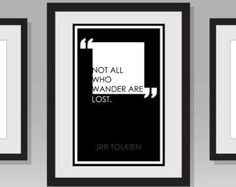 Not All Who Wander Are Lost Quote Poster- JRR Tolkien