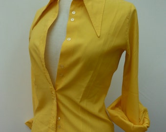 Vintage Yellow 80s Blouse - Pointed Collar - Size 10 S