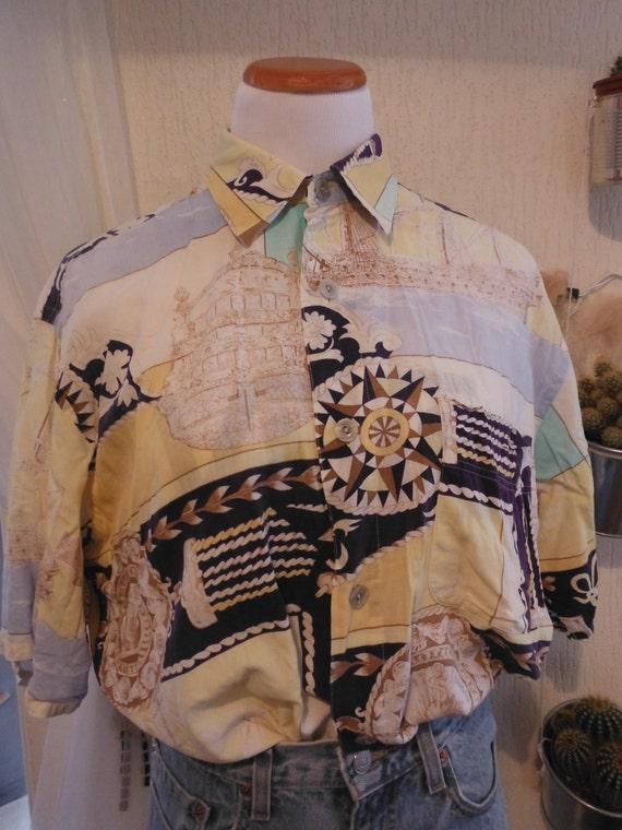 Nautical Print Shirt - Blue Yellow Brown - Medium Large 12 14 - Vintage
