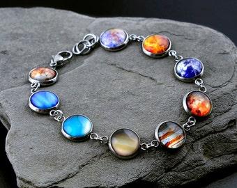 Solar System Bracelet, Stainless steel Bracelet, Nine Planet Bracelet, Galaxy Bracelet, Space Bracelet, Solar System Jewelry