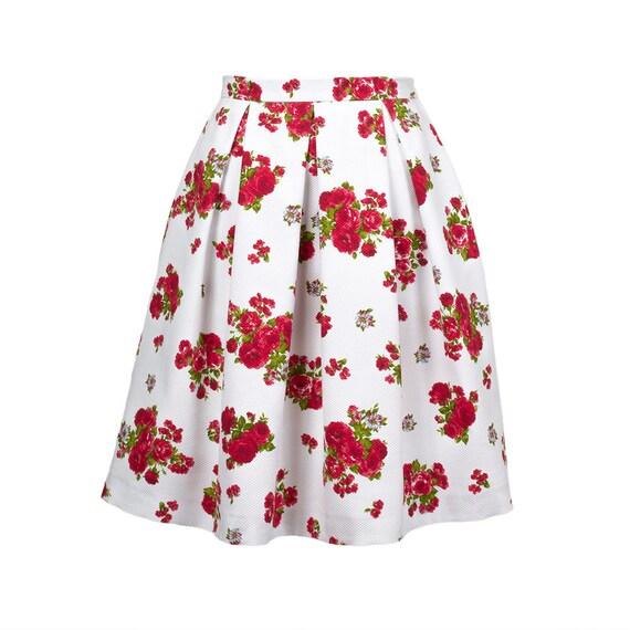 floral pleated skirt a line skirt pleated skirt midi skirt