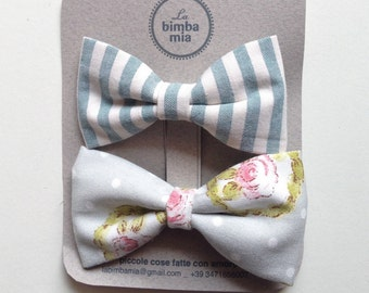 Clothespins, fabric Bows, pink and green pair-Two Fabric Hair Bow clip, Pink and Green