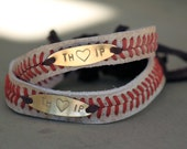 Plain or Personalized Macrame Leather Baseball Seam Bracelet - Custom Stamped Metal - slide closure Couples, Men, Women or Youth size