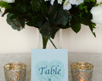 4 x 6 Wedding Table Number//Mint Green, Teal, Patel Blue//Tree Table Number//Wedding Decor//Wedding Tabletop//Mint Green Table Number