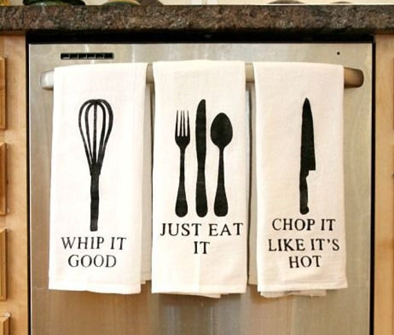 Set of 3 funny kitchen hand towels chop it like by hunsuckered for Funny kitchen set