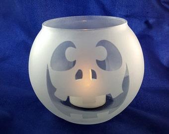 Round Etched Glass Jack-O-Lantern Votive or Tea Light Candle Holder