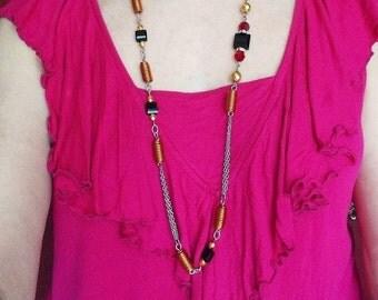 Art Deco necklace, long crystal necklace, copper necklace, black crystal necklace, black square beads, Swarovski long necklace