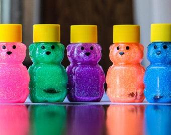 Mini Sensory Bear - Sensory Toy - Sensory Bottle - Autism Toys - Autism Sensory Toys - Neon Set